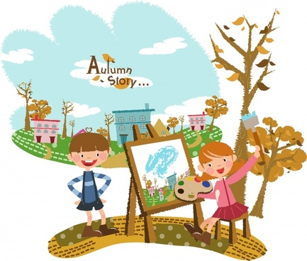 childhood painting joyful kids autumn scene cartoon design