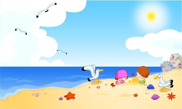 happy beach vector