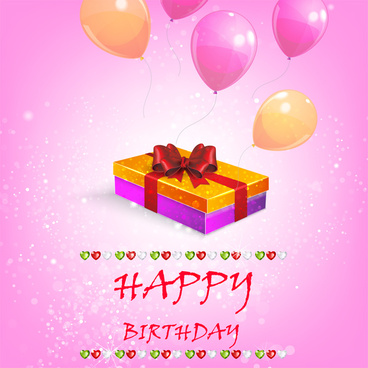 happy birthday background with balloon and gift