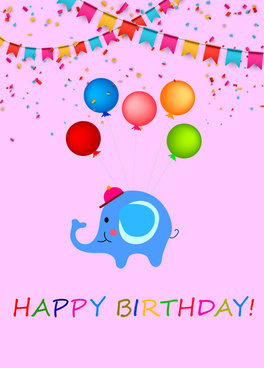 happy birthday background with cartoon elephant