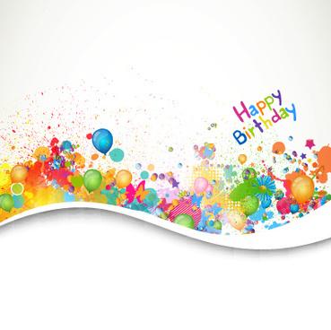 happy birthday balloon grunge background vector graphics
