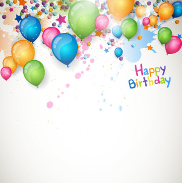 happy birthday balloon grunge background vector graphics