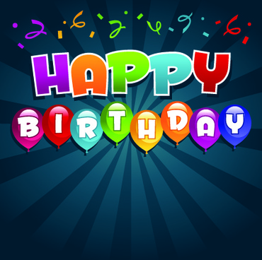 happy birthday balloons of greeting card vector