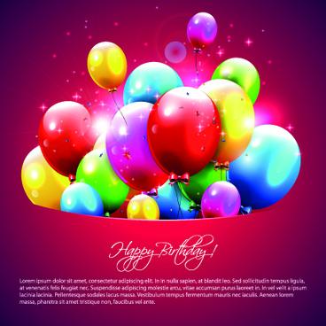 happy birthday balloons of greeting card vector