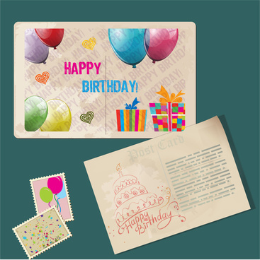 Vintage Happy Birthday Card Design And Stamp