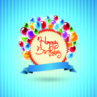 Happy Birthday Card Vector Set