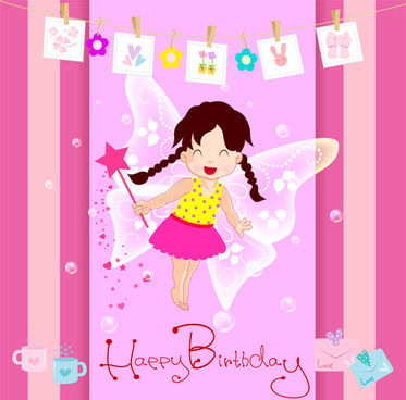 Happy Birthday Card With Cute Fairy