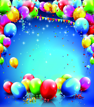 happy birthday colored balloon creative background