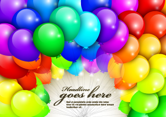 happy birthday colored balloons background