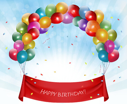 happy birthday colorful balloons art background vector