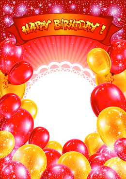 happy birthday colorful balloons background set