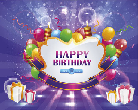happy birthday elements card vector