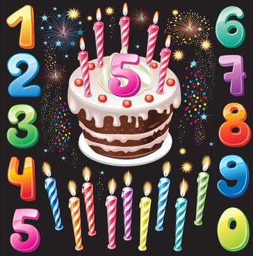happy birthday elements card vector
