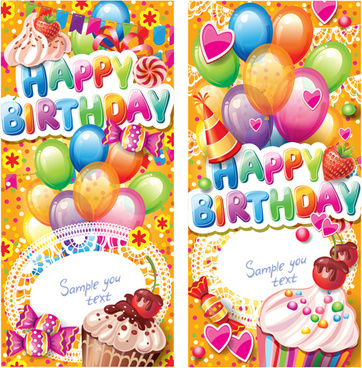 happy birthday elements cover balloons and cake vector