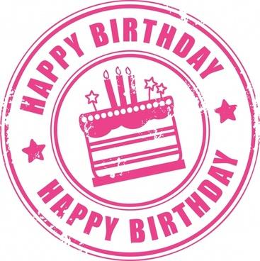 birthday stamp template flat classical cream cake sketch