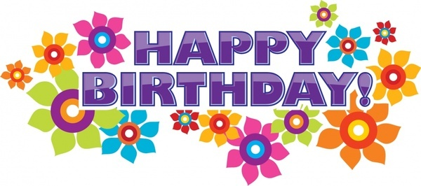 happy birthday flowers vector