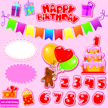 Happy Birthday Gift Cards Design Vector