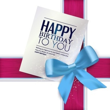 happy birthday greeting card with bow vector