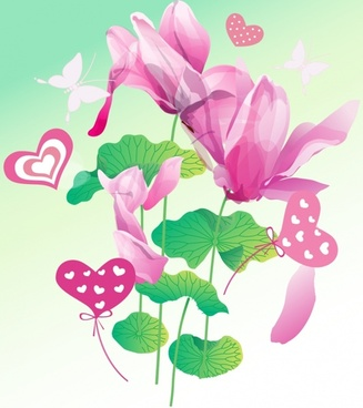 flowers background violet lotus and butterfly design