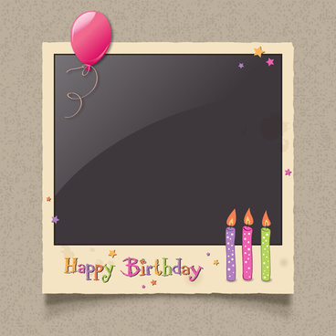 happy birthday photo frame background vector