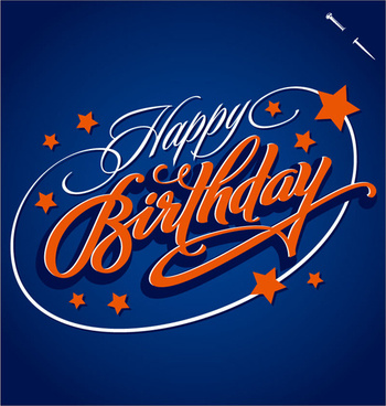 happy birthday text creative design vector