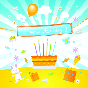 happy birthday to baby cute background vector