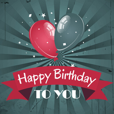 happy birthday vintage card with balloons vector