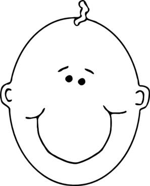 Happy Boyface Outline clip art