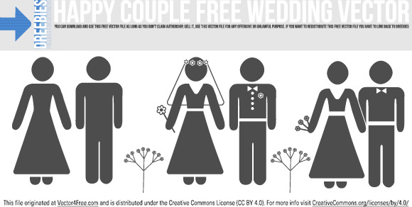 happy couple free wedding vector
