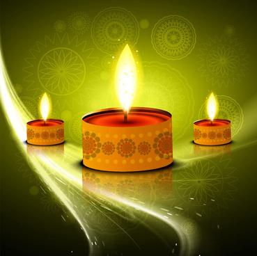 happy diwali festival colorful line wave celebration card illustration vector