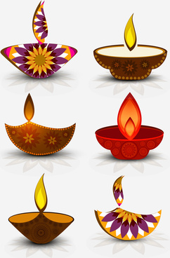 happy diwali shiny 6 various diwali set diya background colorful vector