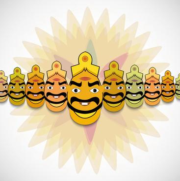 happy dussehra concept colorful background vector illustration