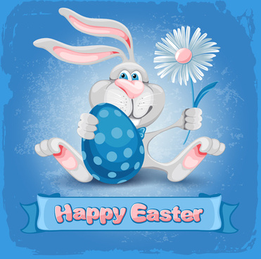 happy easter bunny background vector graphic