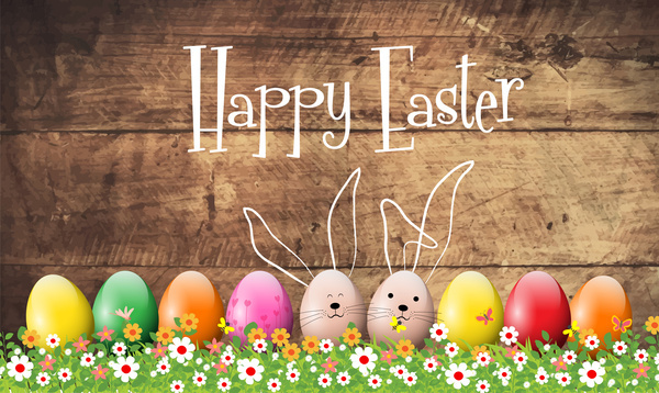happy easter card vector design with colorful eggs