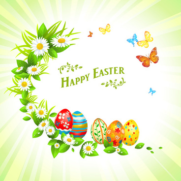 happy easter flower frame background vector