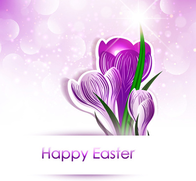 happy easter flower shiny background vector