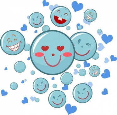 happy emoticon background funny facial blue circles