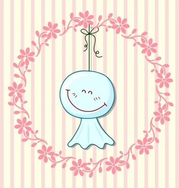 happy emoticon background weather forecast symbol wreath decor