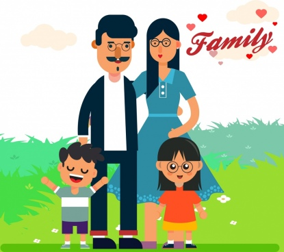happy family background cartoon characters decor