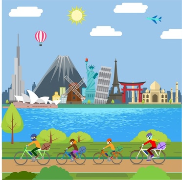 happy family concept design with riding through sceneries