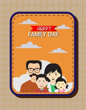happy family day banner in colored flat design