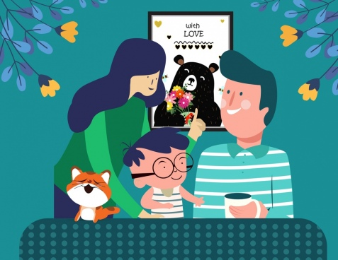 happy family drawing parents boy icons cartoon design