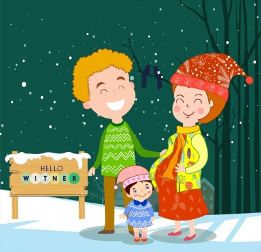 happy family drawing snowy winter colored cartoon design