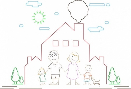 happy family outline colored cartoon style