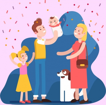 happy family painting colored cartoon character