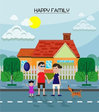 happy family theme design in color flat style