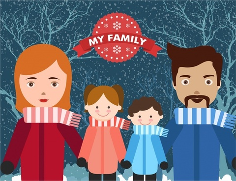happy family theme human icons in winter scenery