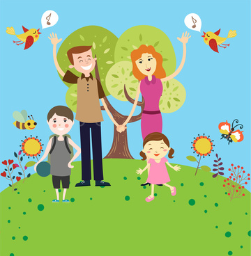 happy family vector illustration in colorful cartoon style