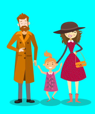 happy family vector illustration with parents and daughter