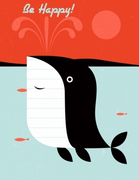 happy greeting card template whale icon stylized cartoon
